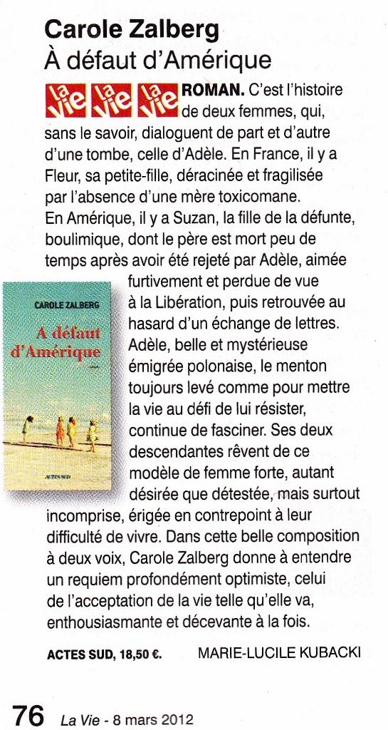 """""""A défaut d'Amérique"""" dans La Vie"""