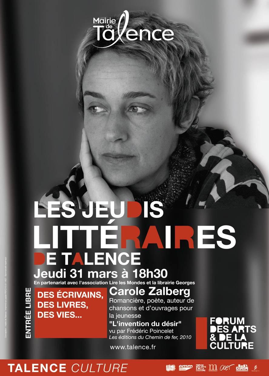 Carole Zalberg aux jeudis littéraires de Talence